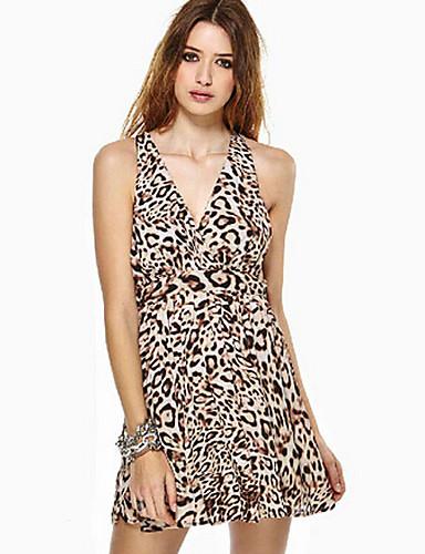 Buy Vancoog Women's V Neck Leopard Sleevless Dress