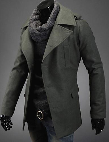 Buy Y&ZY Men's Single-Breasted Wool Coat