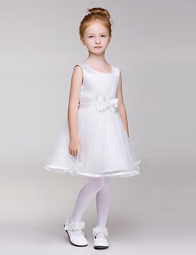 Buy A-line Knee-length Flower Girl Dress - Tulle / Polyester Sleeveless Jewel