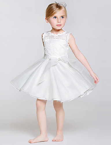Buy A-line Knee-length Flower Girl Dress - Lace / Tulle Polyester Sleeveless Jewel