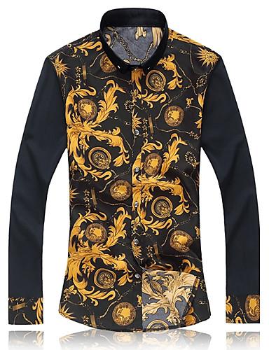 Buy Men's Long Sleeve Shirt , Cotton/Microfiber Casual/Work Print Flower shirt 5XL 6XL 7XL