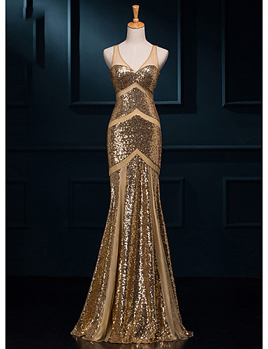 Formal Evening Dress Trumpet Mermaid V Neck Floor Length