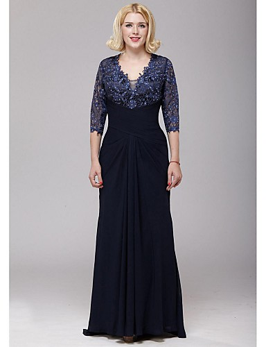 Buy A-line Mother Bride Dress Floor-length Chiffon / Lace Beading