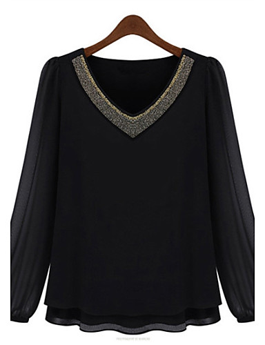 Buy Summer Plus Sizes Women's Slim Thin Fashion Beading V Neck Long Sleeve Chiffon Shirt Blouse