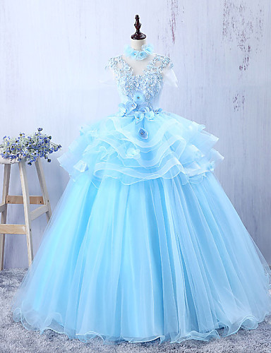Buy Formal Evening Dress A-line Jewel Floor-length Tulle Appliques