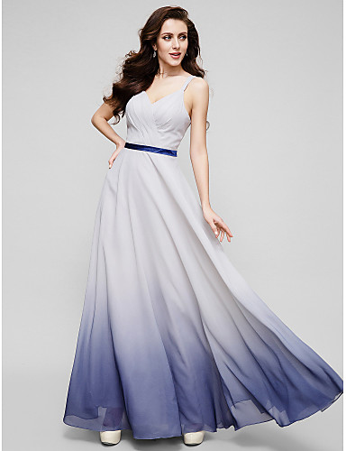 Buy Formal Evening Dress - Multi-color A-line Straps Floor-length Chiffon