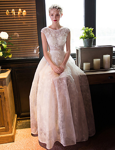 Buy A-line Wedding Dress Floor-length Scoop Lace Beading / Crystal Flower