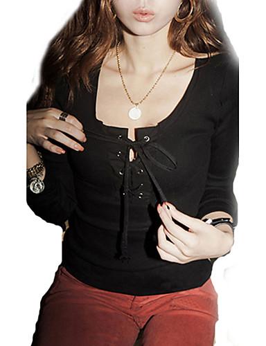 Women Sexy Deep U Neck Drawstring T Shirt Long Sleeve Tops