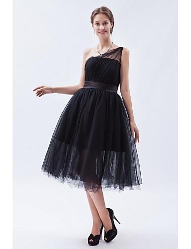 Tea length tulle bridesmaid dress little black dress a for One shoulder tea length wedding dress
