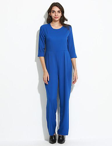 femme ample droite combinaison pantalon sexy soir e cocktail couleur pleine dos nu col arrondi. Black Bedroom Furniture Sets. Home Design Ideas