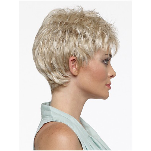 Peachy Pixie Cut Hairstyle Synthetic Wigs Short Hair Straight Blonde Wigs Hairstyles For Men Maxibearus