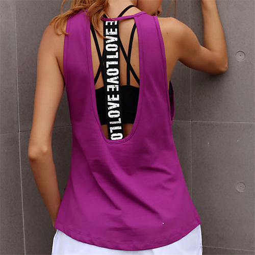 599a96b6538789 Women s Open Back Yoga Top White Black Violet Sports Letter Tank Top Zumba  Dance Running Activewear Breathable Quick Dry Sweat-wicking Micro-elastic -  Shop ...