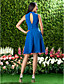 Knee-length Chiffon Bridesmaid Dress - Royal Blue Plus Sizes / Petite A-line High Neck