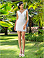 Sheath/Column Plus Sizes Wedding Dress - Ivory Short/Mini V-neck Lace