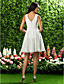 Knee-length Chiffon / Lace Bridesmaid Dress - Ivory Plus Sizes / Petite A-line / Princess Jewel