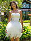 Lanting Bride® Ball Gown Petite / Plus Sizes Wedding Dress - Chic & Modern / Reception Short / Mini Strapless Satin / Tulle with