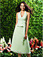 Lanting Bride® Tea-length Chiffon Bridesmaid Dress - A-line / Princess Halter / V-neck Plus Size / Petite with Side Draping