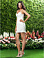 Short / Mini Chiffon Bridesmaid Dress Sheath / Column V-neck / Spaghetti Straps Plus Size / Petite with Criss Cross