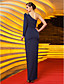 Sheath / Column One Shoulder Floor Length Jersey Formal Evening Military Ball Dress with Beading Appliques Side Draping by TS Couture®