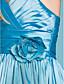 Lanting Bride® Floor-length Taffeta Junior Bridesmaid Dress A-line / Princess Straps Natural with Flower(s) / Sash / Ribbon / Criss Cross