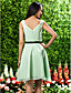 Knee-length Chiffon Bridesmaid Dress - Sage Plus Sizes / Petite A-line / Princess Square