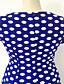 Πάρτι/Κοκτέιλ Εφαρμοστό Φόρεμα,Πουά Τετράγωνη Λαιμόκοψη Ως το Γόνατο Μπλε / Κόκκινο Βαμβάκι / Άλλα Άνοιξη Ελαστικό