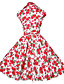 Linia A / Spódnica Sukienka Damskie Wyjściowe / Motyw świąteczny Vintage Kwiaty,Kołnierzyk koszuli Do kolan Krótki rękawNiebieski /
