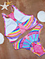 Nais- Polyesteri Colorblock Bikini ,  Halter Kaarituettomat