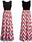 여성 스윙 드레스 파티/칵테일 섹시 줄무늬 컬러 블럭,스트랩 U 넥 맥시 민소매 린넨 아크릴 폴리에스테르 여름 높은 밑위 약간의 신축성 얇음