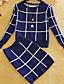 Normal Extra long FemmeDamier Multi-couleur Col Arrondi Manches Longues Coton Hiver Epais Micro-élastique