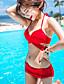 Egyszínű Pánt nélküli Női Bikini,Párnás melltartó Spandex