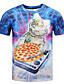 Herren T-shirt-Druck Freizeit Baumwolle Kurz-Blau