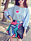 Rose Doll® Femme Col Arrondi Manches 3/4 Shirt et Chemisier Bleu-X15BST039
