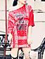Kvinders Simpel I-byen-tøj / Casual/hverdag T Shirt Kjole Trykt mønster / Bogstaver,Rund hals Over knæet 3/4 ærmelængde Rød / Hvid / Sort