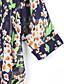 여성의 프린트 라운드 넥 ¾ 소매 블라우스,빈티지 / 심플 캐쥬얼/데일리 블루 폴리에스테르 중간