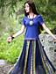 Kortærmet Rund hals Medium Kvinders Blå Farveblok Sommer Vintage I-byen-tøj T-shirt,Bomuld / Spandex