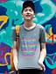 WOWTEE Heren Ronde hals Korte mouw T-shirt Grijs / Marineblauw-WT-TX016