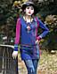 Dame Vintage I-byen-tøj Løstsiddende Kjole Paisley,Rund hals Over knæet Langærmet Blå Rayon / Polyester / Spandex Sommer Alm. taljede