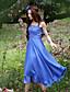 Dame Simpel I-byen-tøj / Plusstørrelser Skede Kjole Ensfarvet,Med stropper Maxi Uden ærmer Blå Polyester Sommer Alm. taljede Uelastisk