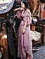 Dame Vintage I-byen-tøj / Ferie Shift Kjole Trykt mønster,Rund hals Maxi Langærmet Rosa Bomuld Sommer Alm. taljede Uelastisk Tynd