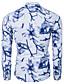 Bomull Blå / Sort Medium Langermet,Opprett krage Skjorte Trykt mønster Alle sesonger Chinoiserie Fritid/hverdag Herre
