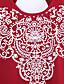 Uden ærmer Rund hals Tynd Kvinders Rød Trykt mønster Sommer Simpel Casual/hverdag T-shirt,Bomuld