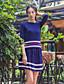 女性 カジュアル/普段着 秋 Tシャツ スカート スーツ,シンプル ラウンドネック ストライプ ブルー ウール / コットン 長袖