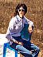 Damen Solide Einfach Lässig/Alltäglich Hemd,Hemdkragen Winter Langarm Blau Baumwolle Kunstseide Mittel