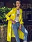 Damen Solide Street Schick Lässig/Alltäglich Trenchcoat,Winter Langarm Gelb Nylon