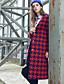 Damen Hahnentrittmuster Street Schick Lässig/Alltäglich Mantel,Winter V-Ausschnitt Langarm Rot Grün Wolle Polyester