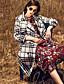 Damen Verziert Einfach Lässig/Alltäglich Mantel,Winter Gekerbtes Revers Langarm Rot Grau Wolle