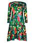 Damen Lose Kleid-Lässig/Alltäglich Sexy Einfach Solide Geometrisch Rundhalsausschnitt Maxi ¾-Arm Mehrfarbig Polyester Frühling Herbst