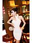 Damen Hülle Kleid-Ausgehen Einfach Solide Asymmetrisch Mini Ärmellos Weiß Schwarz Baumwolle Sommer Mittlere Hüfthöhe Mikro-elastisch
