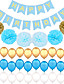 Birthday Party Background Decorated Paper Flower Ball Paper Pull Flag Balloon One Set